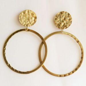 Hammered Golden Hoop Earrings