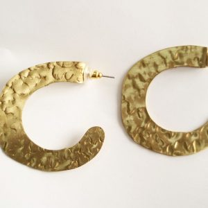C-Shaped Hand Hammered Golden Earring