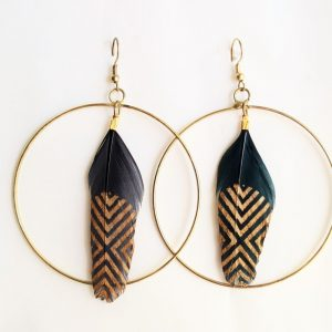Black & Gold Feather Earring
