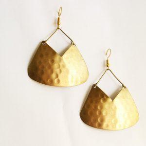 Golden V Metal Earring