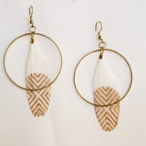 White & Gold Feather Earring